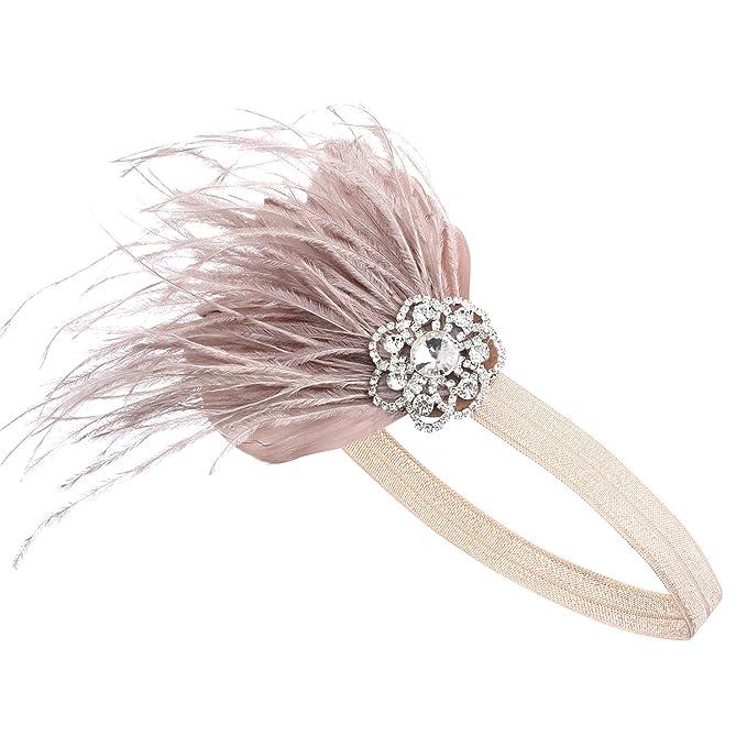 BABEYOND Años 20 Flapper Diadema de Pluma Diadema Gatsby Vintage Cinta para el Pelo con Cristal