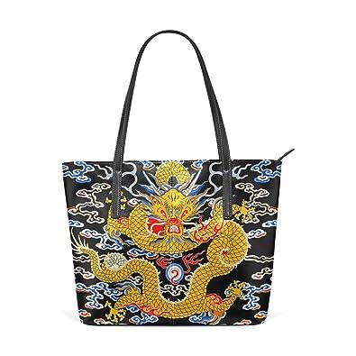Amazon.com: Para mujer bolsos de piel dragón chino bolsos ...
