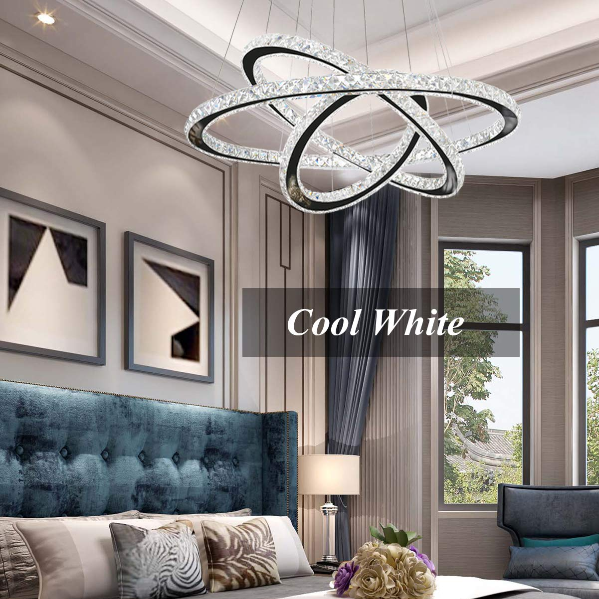 Modern crystal chandelier lighting ceiling dining room living room chandeliers contemporary led light fixtures hanging 3 ring foyer girls bedroom