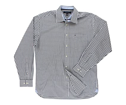 ee4f7b427 Tommy Hilfiger Men's Collar Grid Button Down Navy Blue/White M at Amazon  Men's Clothing store: