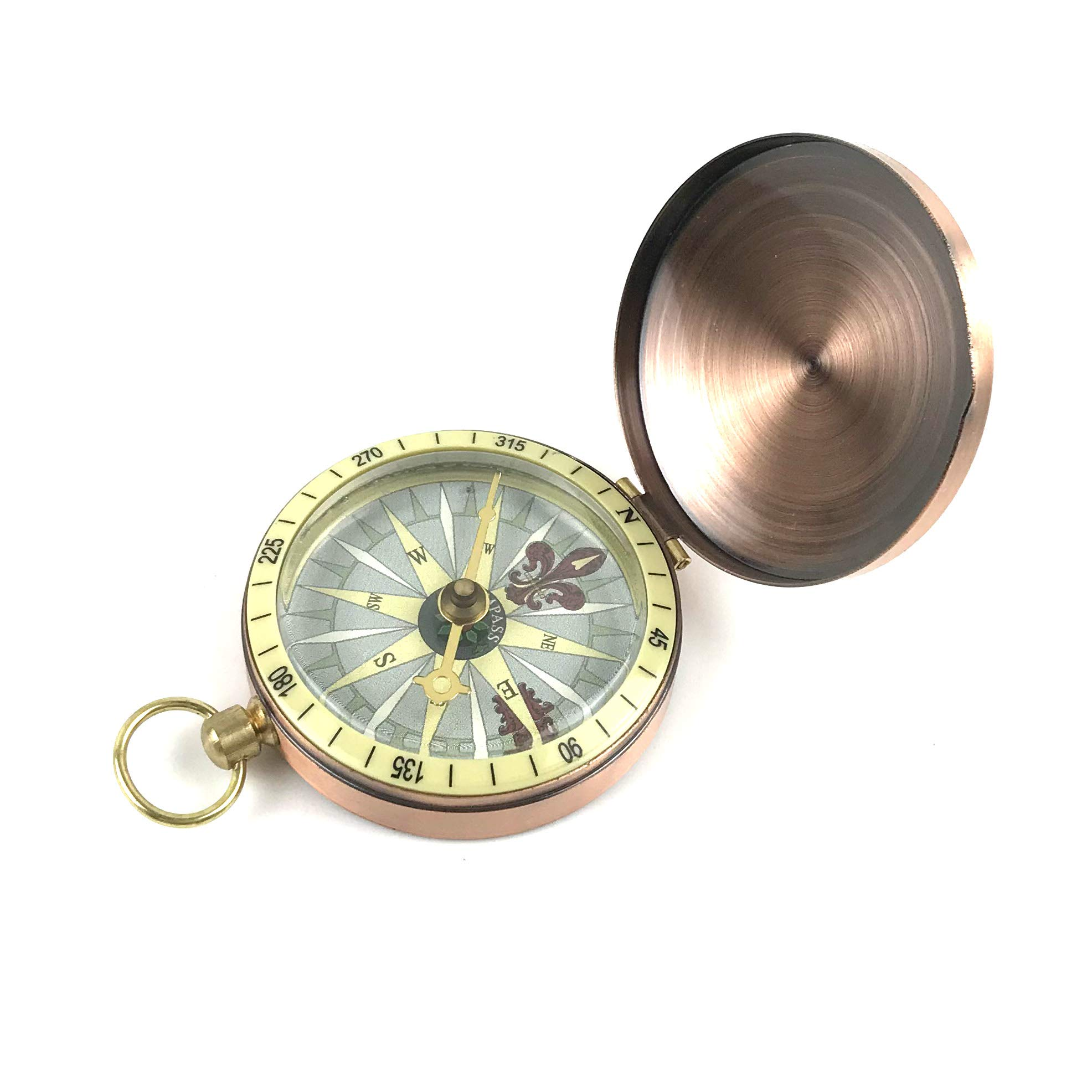 DETUCK(TM Survival Pocket Compass for Camping Hiking Boating | Vintage Copper Brass Compass Tool | Charm Navigation Antique Compass Nautical Marine Pocket Compass Gift