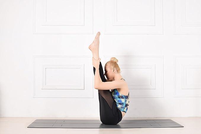 Heathyoga Caucho Natural Antideslizante Yoga Mat Pro Store, Cuerpo Sistema de alineación, Base de Goma y Piel sintética Skidless Superficie, Yoga ...