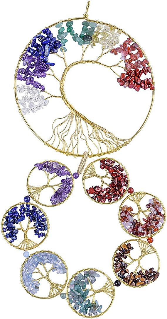 RRSHUN 7 Chakra Crystal Tree of Life Dream Catcher Feather Hanging Ornament Reiki Healing Crystals Gem Stones Hanging Decor Craft Gift for Home Window Bedroom Decor Car Decoration