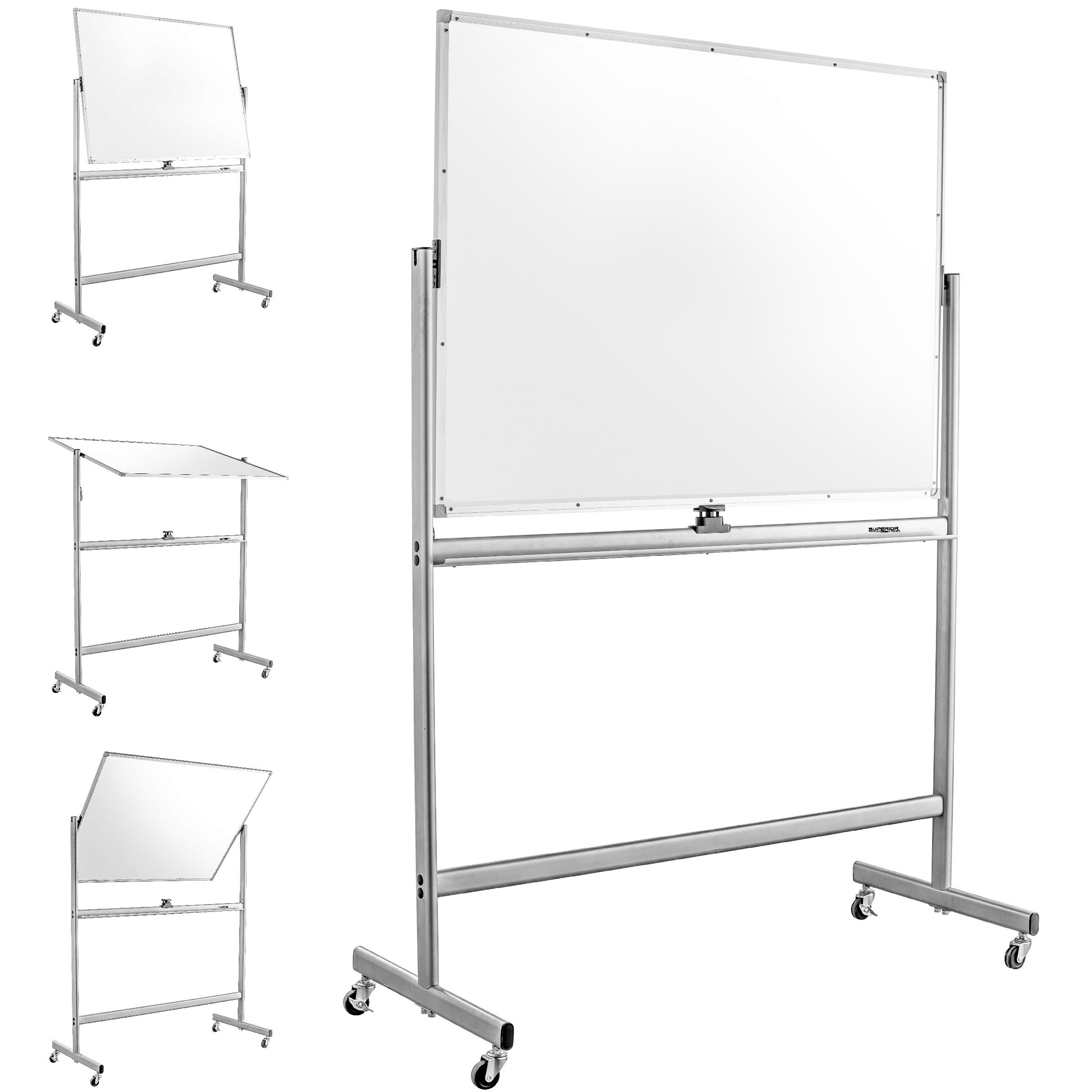 Mobile Dry Erase Magnetic Whiteboard--47''(W) x 36''(H) -- Double Sided with Easy Flip Feature