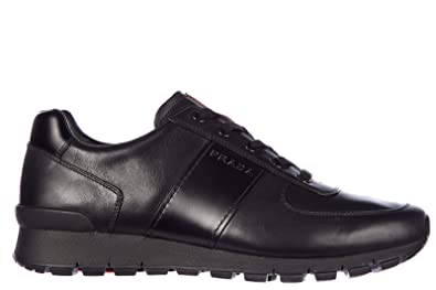 adf7cf446d45b Prada Men s Shoes Leather Trainers Sneakers Plume Black UK Size 10 4E2718  O3Y F0002