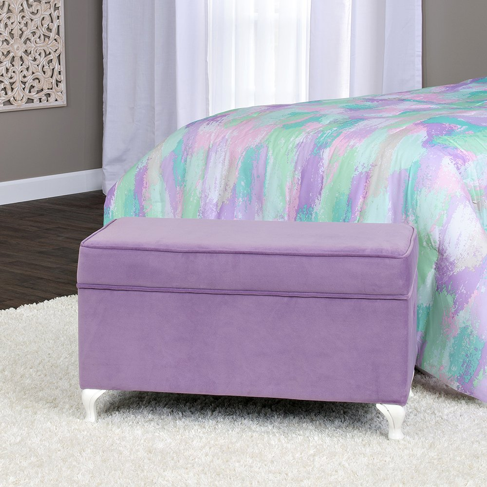 HomePop Diva Youth Velvet Decorative Storage Bench with White Wood Legs, Purple by HomePop (Image #4)