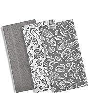 Ensemble de 3torchons/essuies de cuisine - 100% coton - Imprimé à feuilles moderne - Avec 1 torchon uni absorbant en tissu éponge