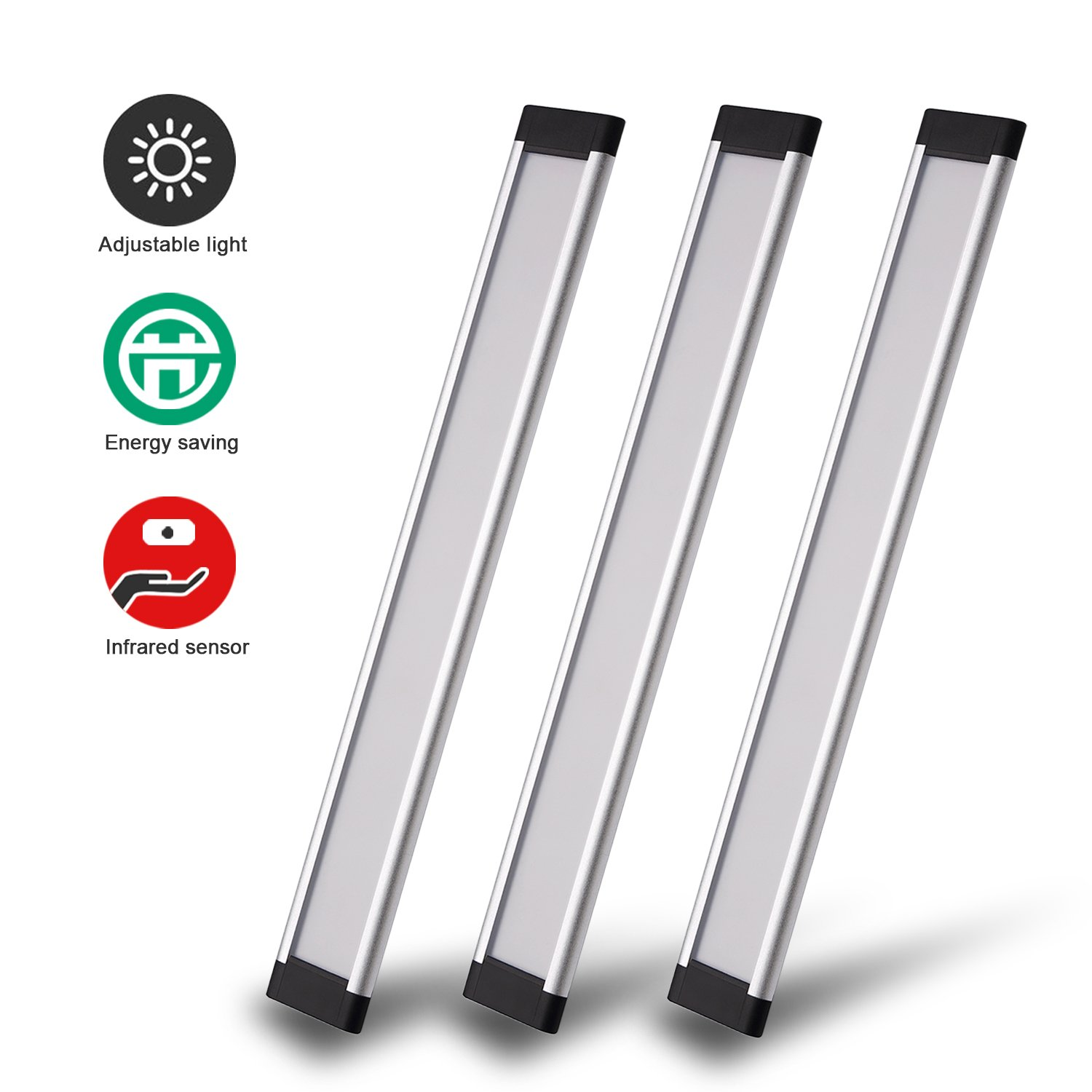 Innens LED Under Cabinet Lighting Kit, Motion Sensor Counter Light bars Daylight 6000K 100-400 lm Dimmable Plug in for Kichen Cabinets Counters (B-Daylight)