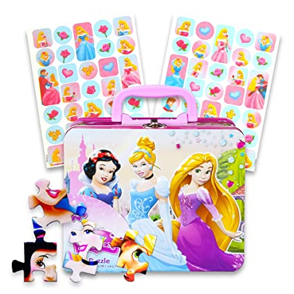 67104fd4ee09 Disney Princess Lunch Box Activity Set -- Disney Princess Tin Box with  Handle, 48 Pc Puzzle and Cinderella Stickers (Lunch Kit)