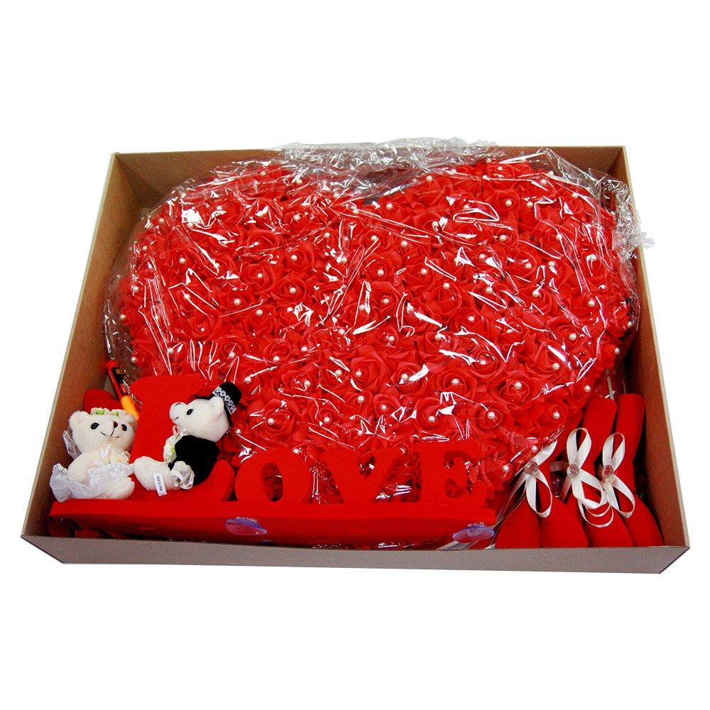 luvhunter Love Car Bow, Wedding Car Deco Set, Red