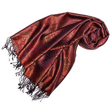 Lorenzo Cana Luxus Damen Pashmina 70/% Seide 30/% Viskose Schaltuch 70 cm x 190 cm zweifarbiger grau rot Schal Stola Frauenschal 78433