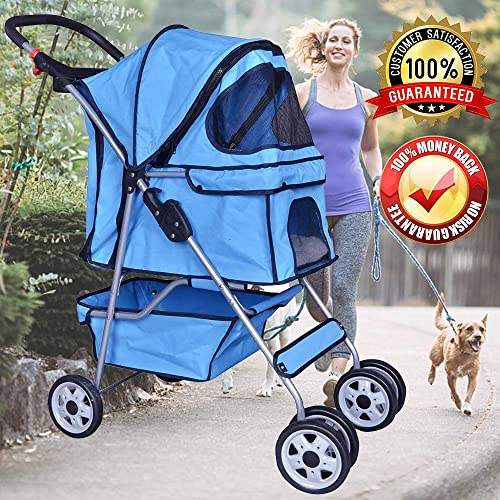Dog Stroller Pet Stroller Cat Strollers Jogger Foldable Travel Carrier 35Lbs Capacity Doggie Cage Durable 4 Wheels Strolling Cart with Cup Holders and Removable Liner for Small-Medium Dog