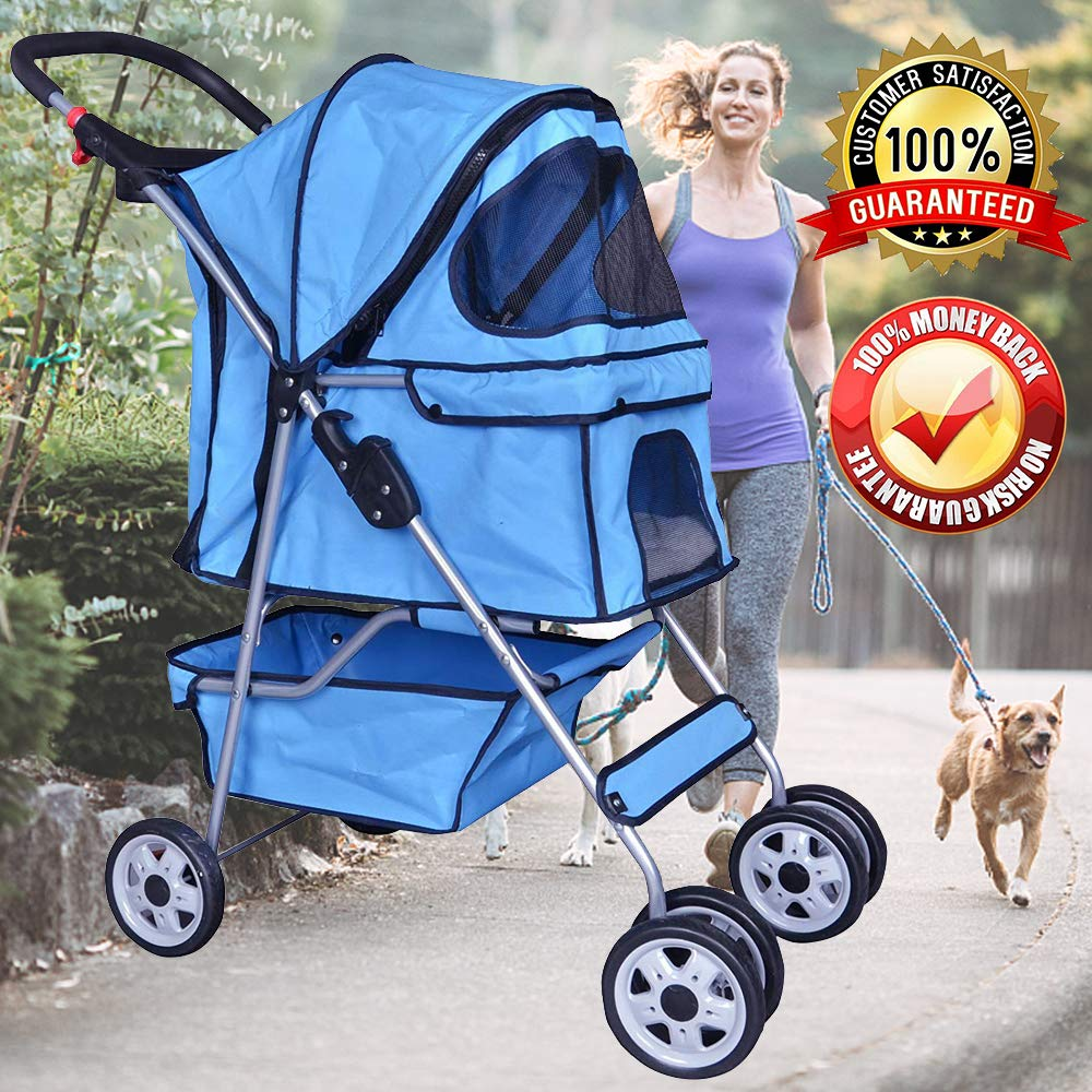 Dog Stroller Pet Stroller Cat Strollers Jogger Foldable Travel Carrier 35Lbs Capacity Doggie Cage Durable 4 Wheels Strolling Cart with Cup Holders and Removable Liner for Small-Medium Dog, Cat (Blue)