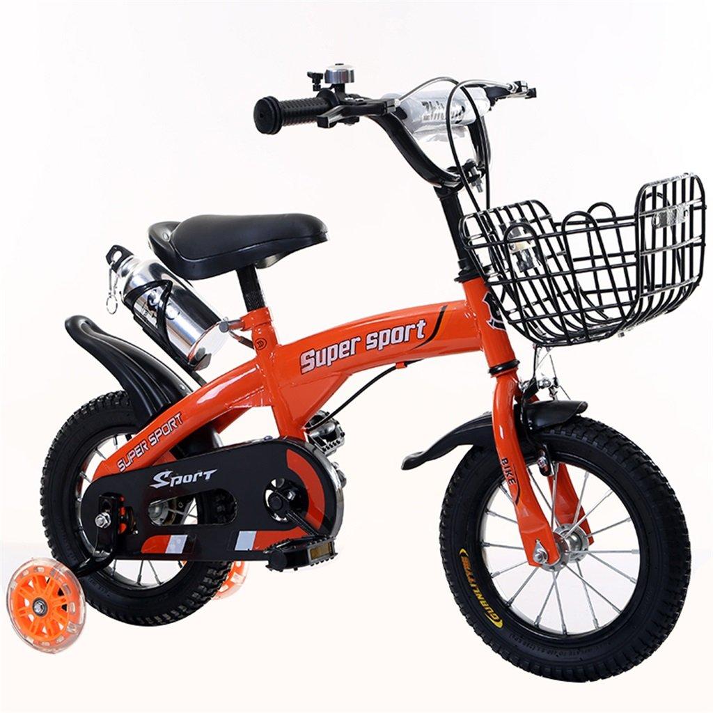子供の自転車12|14|16|18インチ屋外の子供赤ちゃんキッドマウンテンバイクフラッシュトレーニングホイールで3-9歳の男の子の女の子のギフト|アイアンバスケット|ウォーターボトルセーフ B078GPF6W1 12インチ|オレンジ オレンジ 12インチ