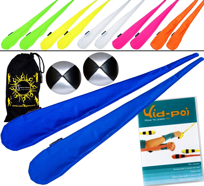 Pro Sock Poi Set (ORANGE) Flames N Games Pair of Quality Stretchy Lycra Spinning Poi Socks + 2x90g Balls & KID POI Instructional DVD & Travel Bag.