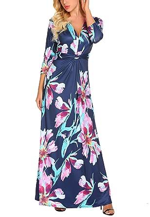 abfc8046ff6 Qearal Womens Floral Printed Maxi Dresses 3 4 Sleeve Twist Knot V Neck  Floor Length