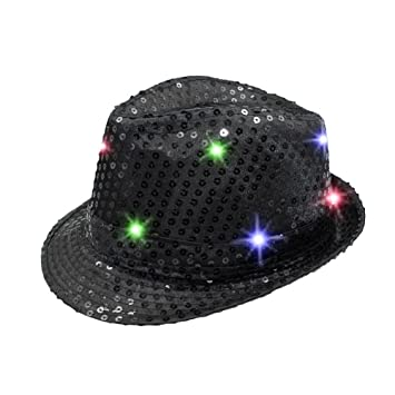 b20a31f1028 Namsan LED Jazz Hat Cap Flashing Dance Hat Bright Lighted Light Up Sequin  Hat Sequins