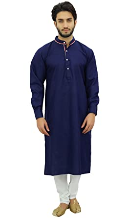 2846301b8c Atasi Men's Blue Designer Kurta Pyjama Set Long Cotton Shirt Wear-Small