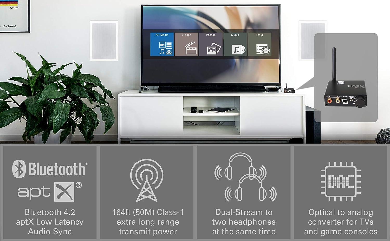 Micca - Convertidor de audio digital a analógico con transmisor inalámbrico Bluetooth 4.2 de largo alcance para TV, convertidor de audio óptico digital a analógico, aptX de baja latencia, y pase óptico (