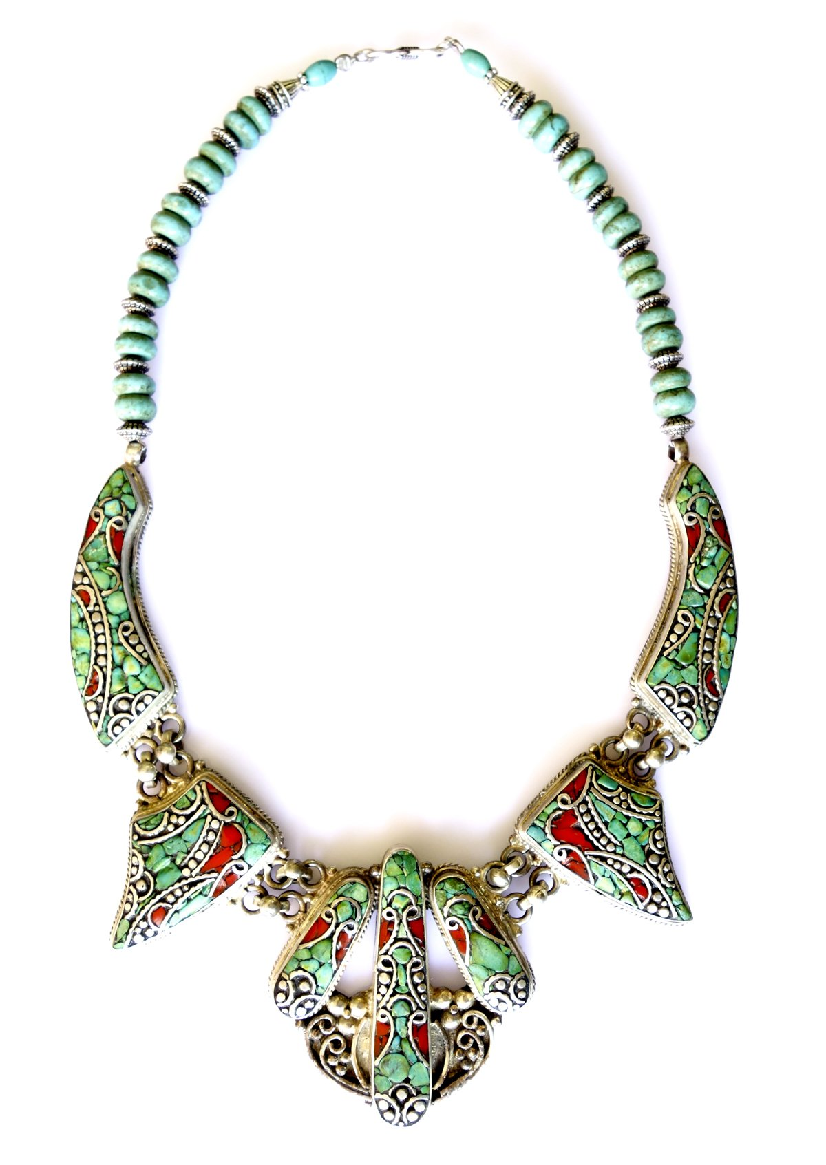 CORAL & TURQUOISE GEMSTONE HANDMADE NECKLACE FOR WOMEN BUDDHIST BOHEMIAN TRIBAL NECKLACE BY TIBETAN SILVER