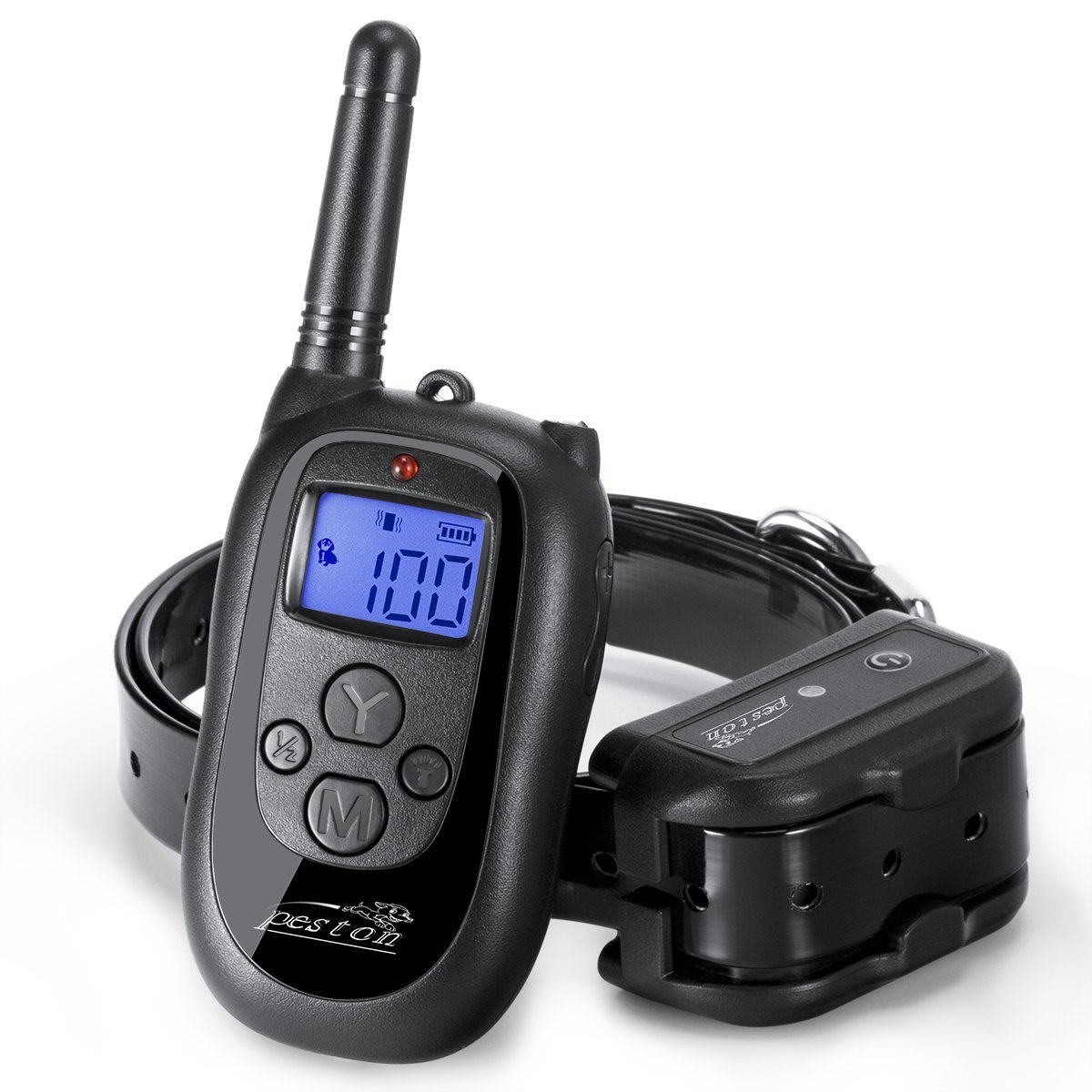 PESTON Remote Dog Training Collar Rechargeable and 100% Waterproof with Beep Vibration and Shock Electronic Collar 1000ft Range