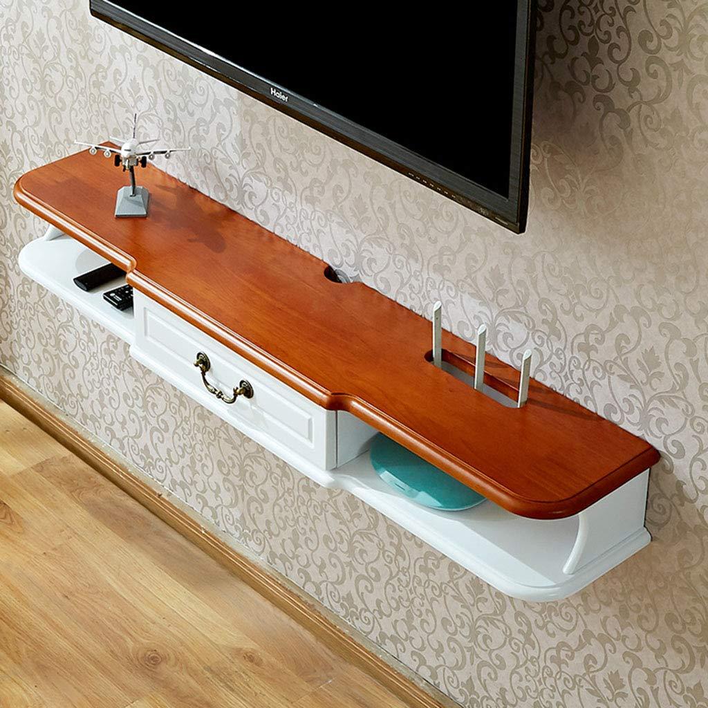 TLMY ウォールテレビキャビネットWIFIルーターシェルフセットトップボックスブラケットクリエイティブ収納ボックスラックテレビコンソールフロート 壁テレビ台 (Color : White+brown(140cm)) B07TP6TZ57 White+brown(140cm)