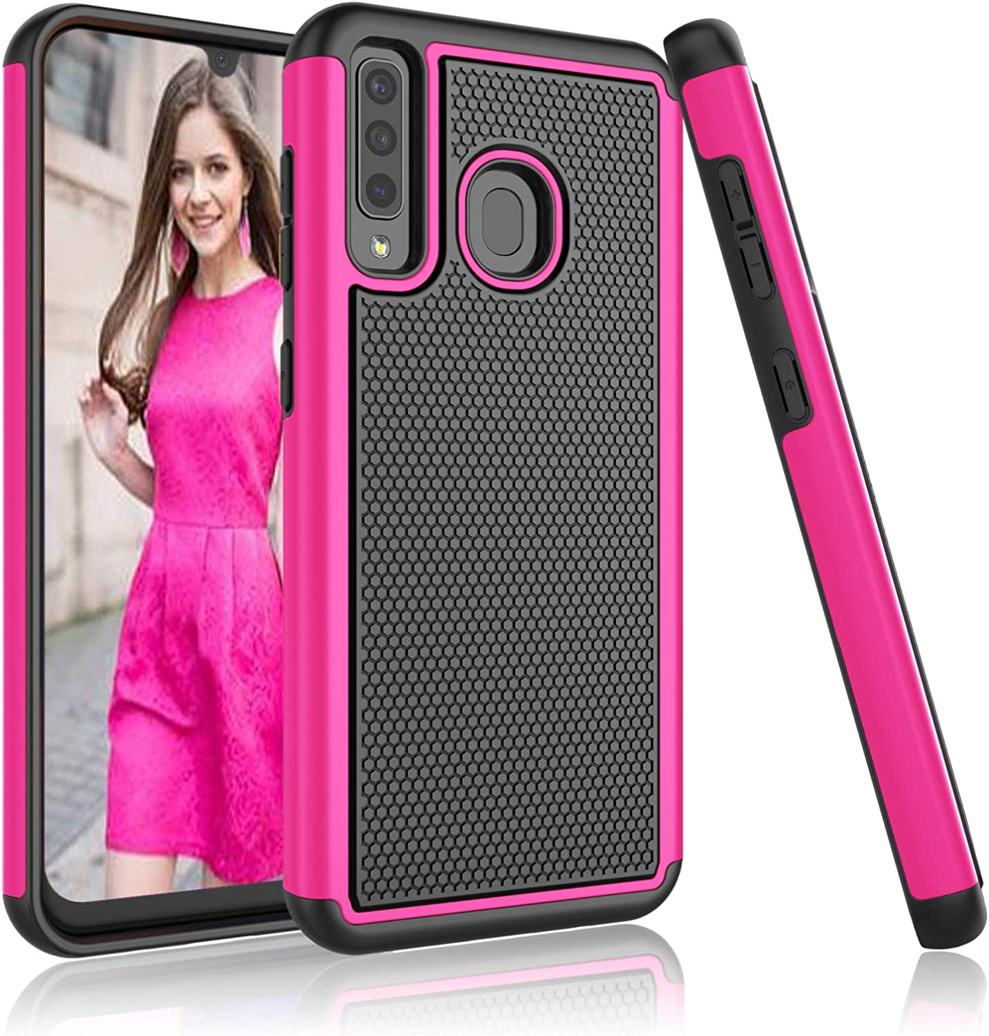 Njjex Case For Samsung Galaxy A20 / A30, For Galaxy A20 /A30 Case (SM-A205U), [Nveins] Hybrid Dual Layers Hard Plastic Back + Soft Silicone Rubber Armor Defender Shockproof Slim Phone Cover [Rose Red]