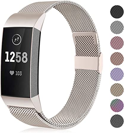 Image of Funbiz Compatible con Fitbit Charge 3 Correa/Fitbit Charge 4 Correa, Banda de Reemplazo Ajustable Acero Inoxidable Correas para Fitbit Charge3/Charge 4/Charge 3 SE, Pequeña Grande