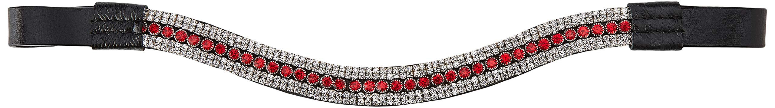Cwell Equine Bling! Designer Sparkly Leather Browband5-Row Crystals RED & Clear (Pony 14'')