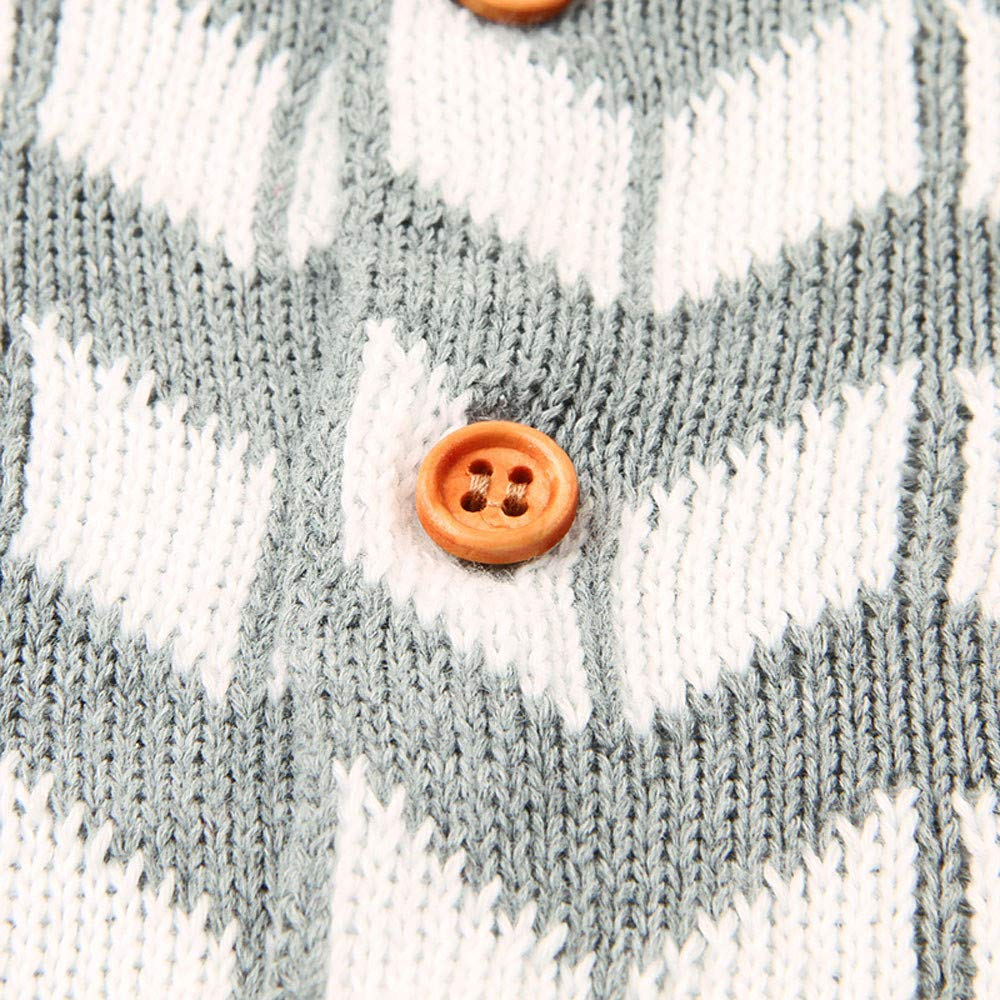 Knit Baby Romper,Waymine Infant Boy Girl Button Rhombic Jumpsuit Outfit Clothes