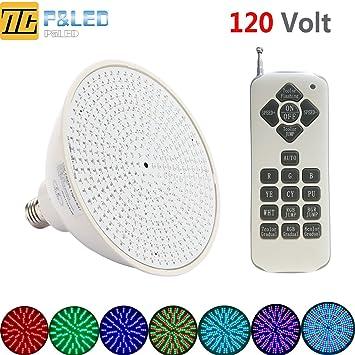 Amazon.com : P&LED (120V, 35W) Color Changing Replacement Swimming ...:P&LED (120V,35W) Color Changing Replacement Swimming Pool Lights Bulb LED  PAR56 Light,Lighting