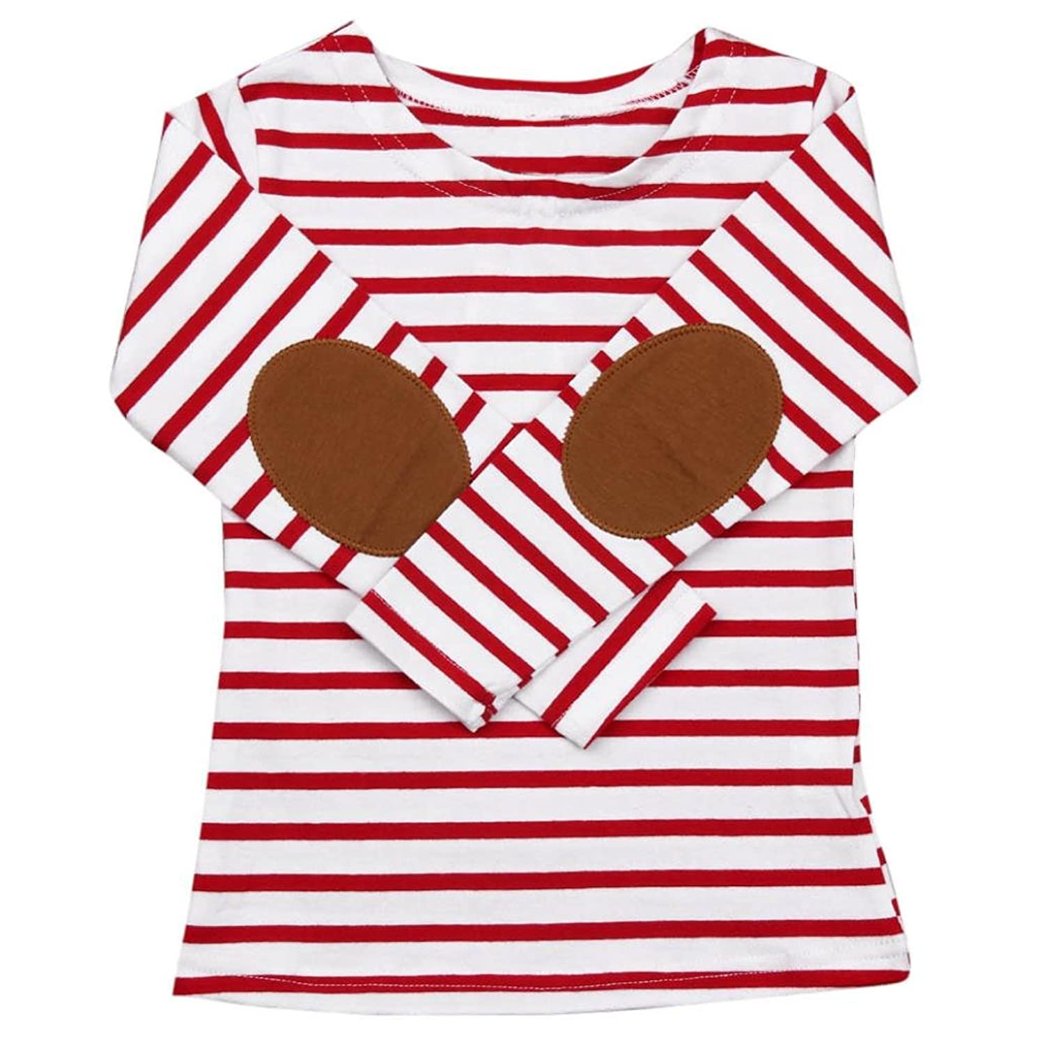 G-real Toddler Little Girls Boys Casual Striped Print Patchwork Sleeve Cotton Bottom Tops For 2-6T
