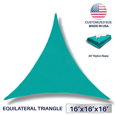 Windscreen4less 16 x 16 x 16 Sun Shade Sail Canopy in Turquoise with Commercial Grade 3 Year Warranty Customized