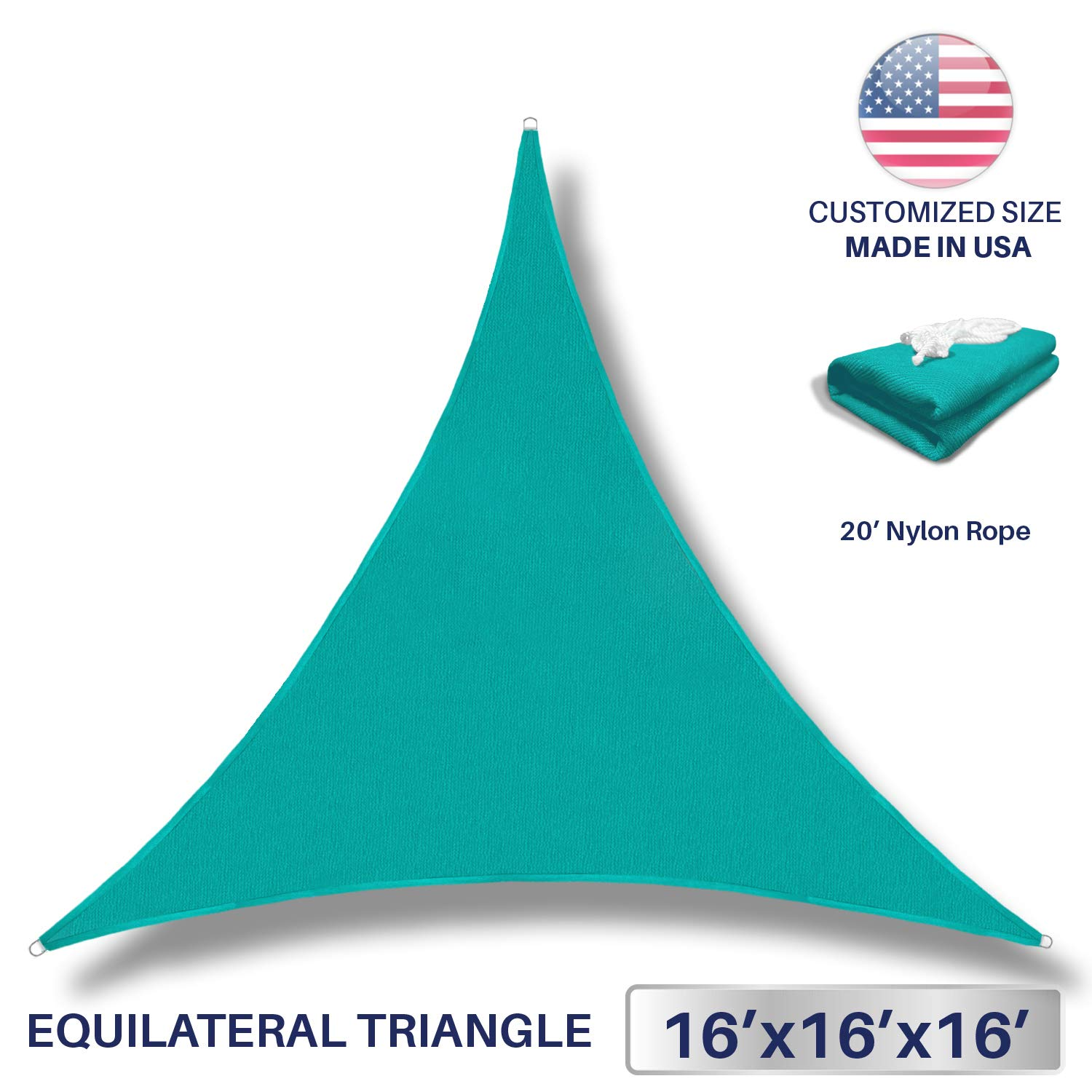 Windscreen4less 16' x 16' x 16' Sun Shade Sail Canopy in Turquoise with Commercial Grade (3 Year Warranty) Customized