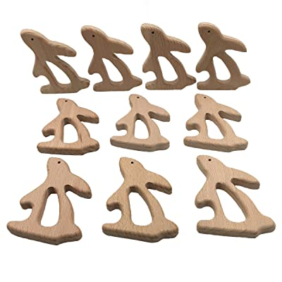 Wendysun 10pcs DIY Natural Handmade Baby Teether Toys Organic Beech Wooden Rabbit Teether Wooden Personalized Eco-Friendly Safe Pendant Can Chew Baby Montessori Toy : Baby