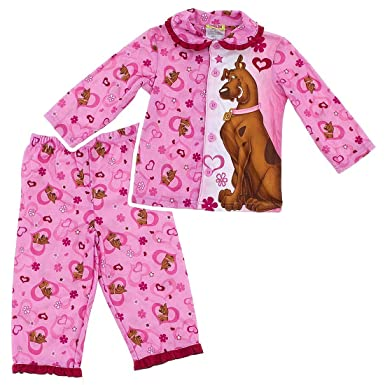 2347880522 Scooby Doo  quot Sweetheart quot  Young Girls Pink Flannel Coat Style Pajama  Set Size 4