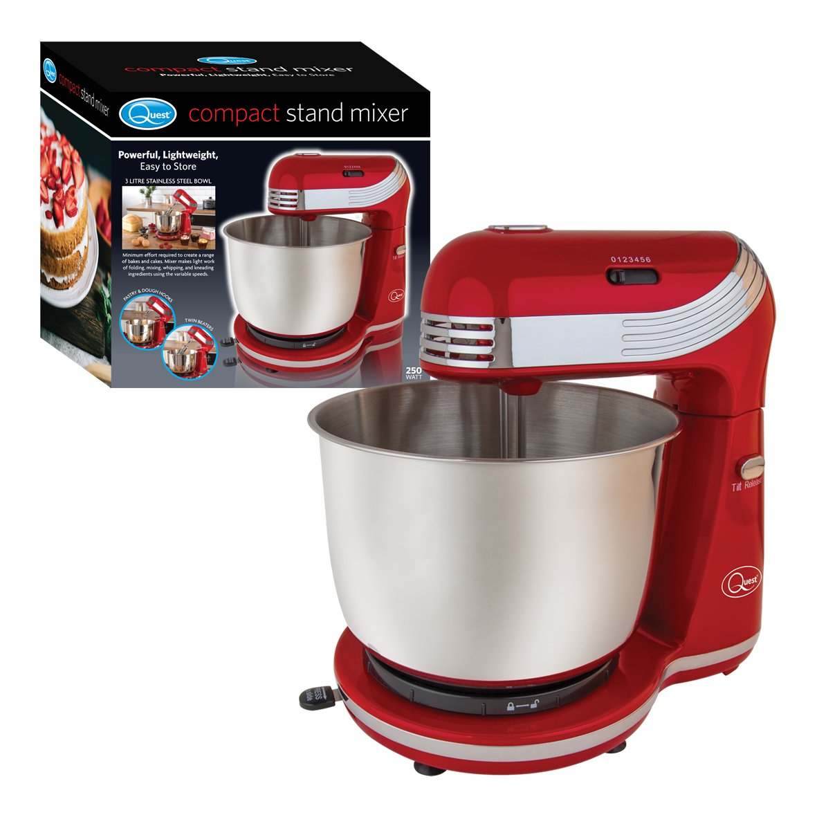 Quest 34450 3 Litre Compact 6 Speed Watt Stand Mixer with Stainless Steel Bowl and Dough Hook and Beater, 250 W, 3 Liters, Black Benross Marketing Ltd