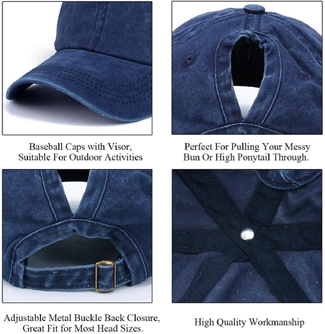 Voqeen Ponytail Baseball Hat Cap Unisex Washed Trucker Hat Cap Adjustable Spring Autumn Solid Color Baseball Cap Ourdoor Sun Visor PonyCaps