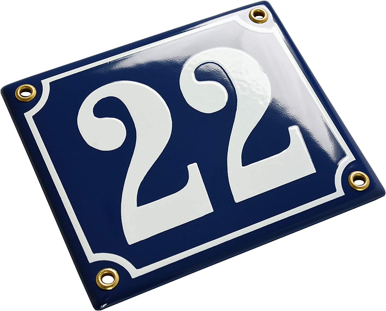 Blau Personalisiert Sosenco Hausnummerschild Hausnummer 12x14 cm Keramik Emaille Emailschild Wetterfest