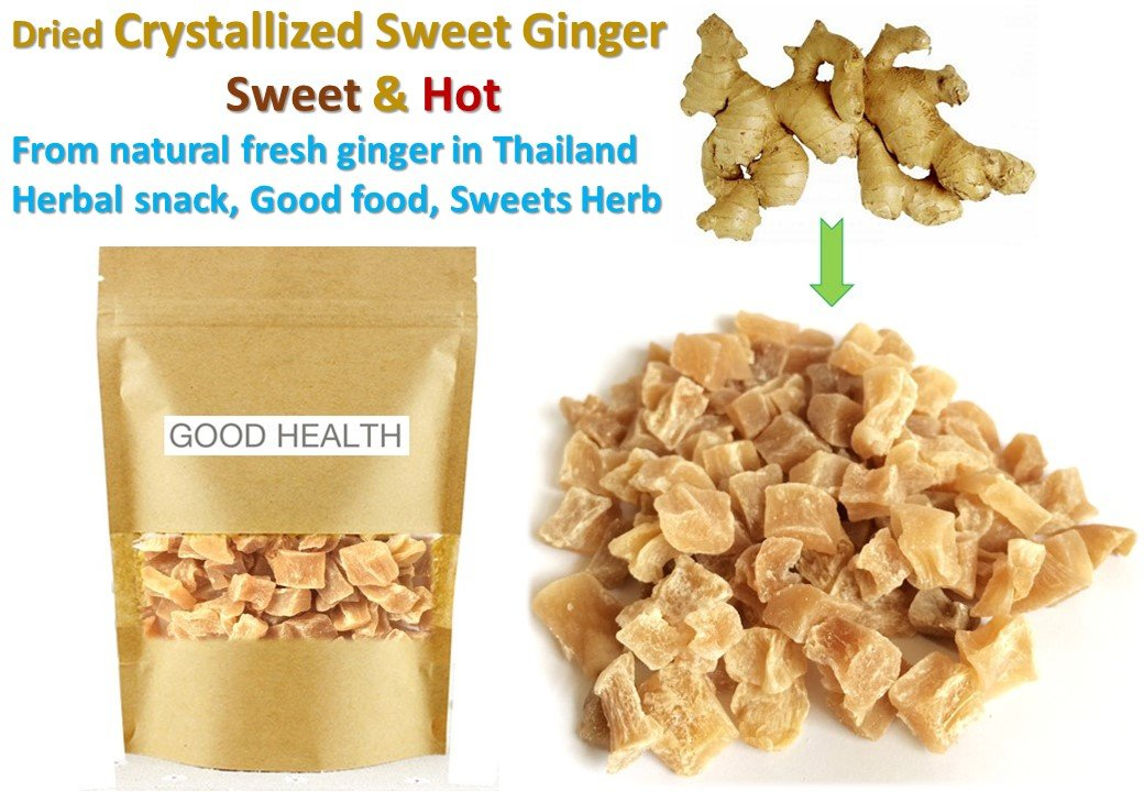 500 grams of Dried Crystallized Ginger Sweet & Hot Herbal snack sweets herb food Healthy food idea by Ryo Herb