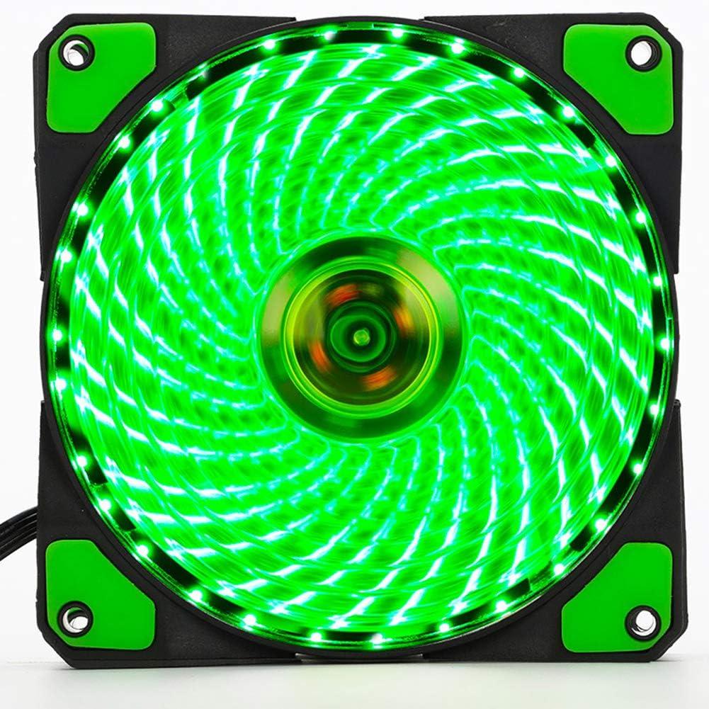 elegantstunning 12cm PC Computer Clear Case Quad 33 LED Light CPU Cooling Fan Heatsink Green