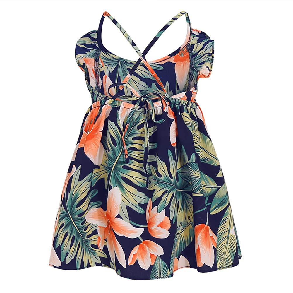 PopReal Mommy and Me Dresses Floral Print Cold Shoulder Ruffle Backless Strap Romper Beach Midi Dress Summer