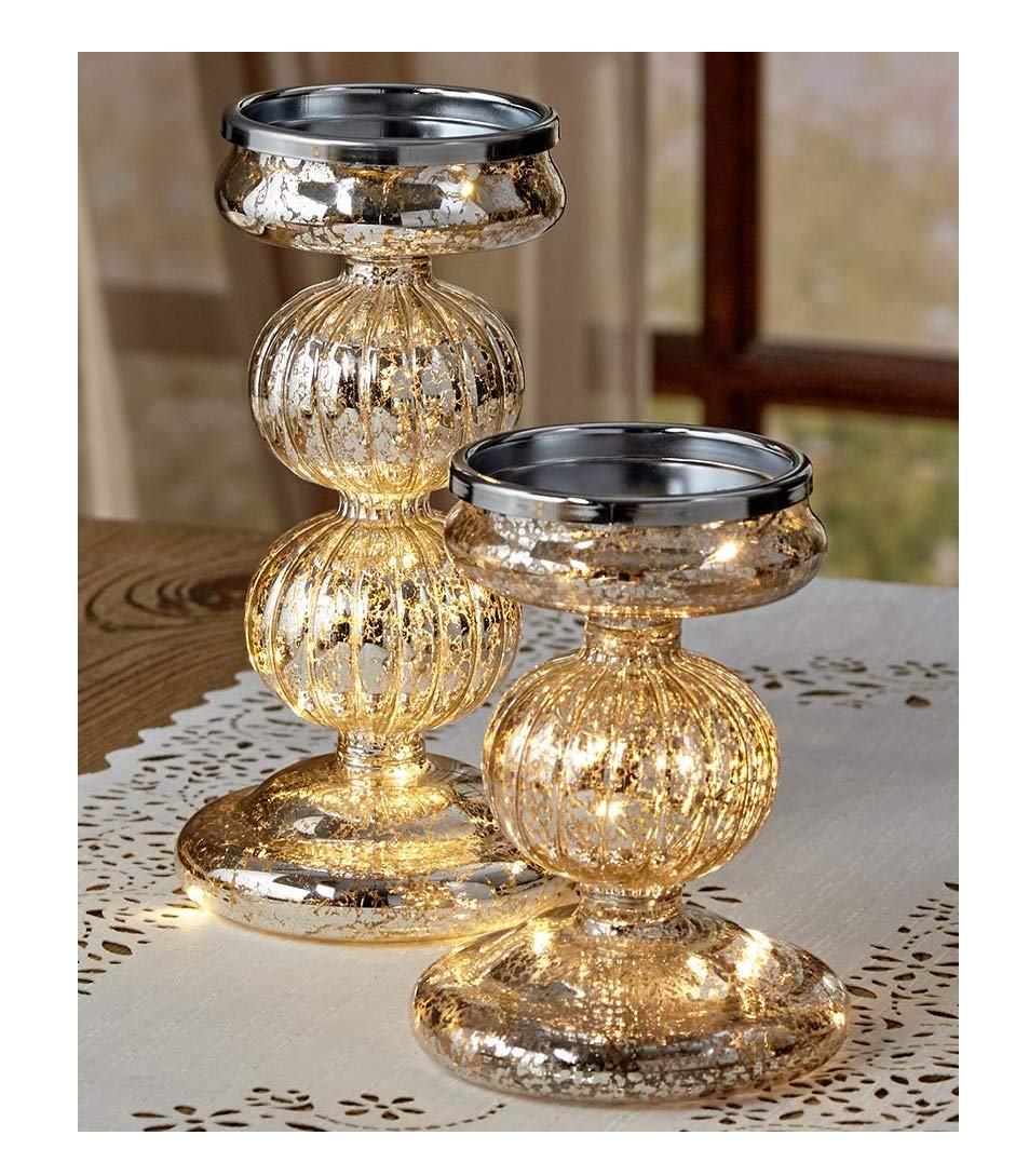 Set of 2 Lighted Mercury Glass Candle Holders Pillars LED Fairy Lights Home Decor Gift Idea (Silver)