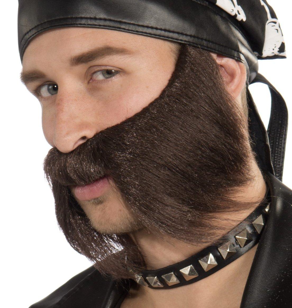 Forum Novelties Men's Bad Biker Novelty Beard, Brown, One Size