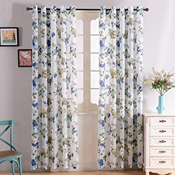 Curtains Ideas 54 inch long curtain panels : Amazon.com: Top Finel Garden Bloom Voile Window Sheer Curtain ...
