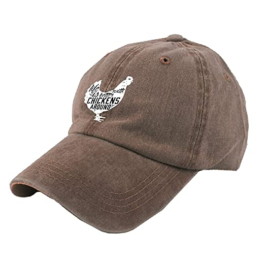 952fa79fa76 Image Unavailable. Image not available for. Color  HONGYUDE Alility Caps  Life is Better with Chickens Around Vintage Adjustable Cowboy Hat Baseball  ...