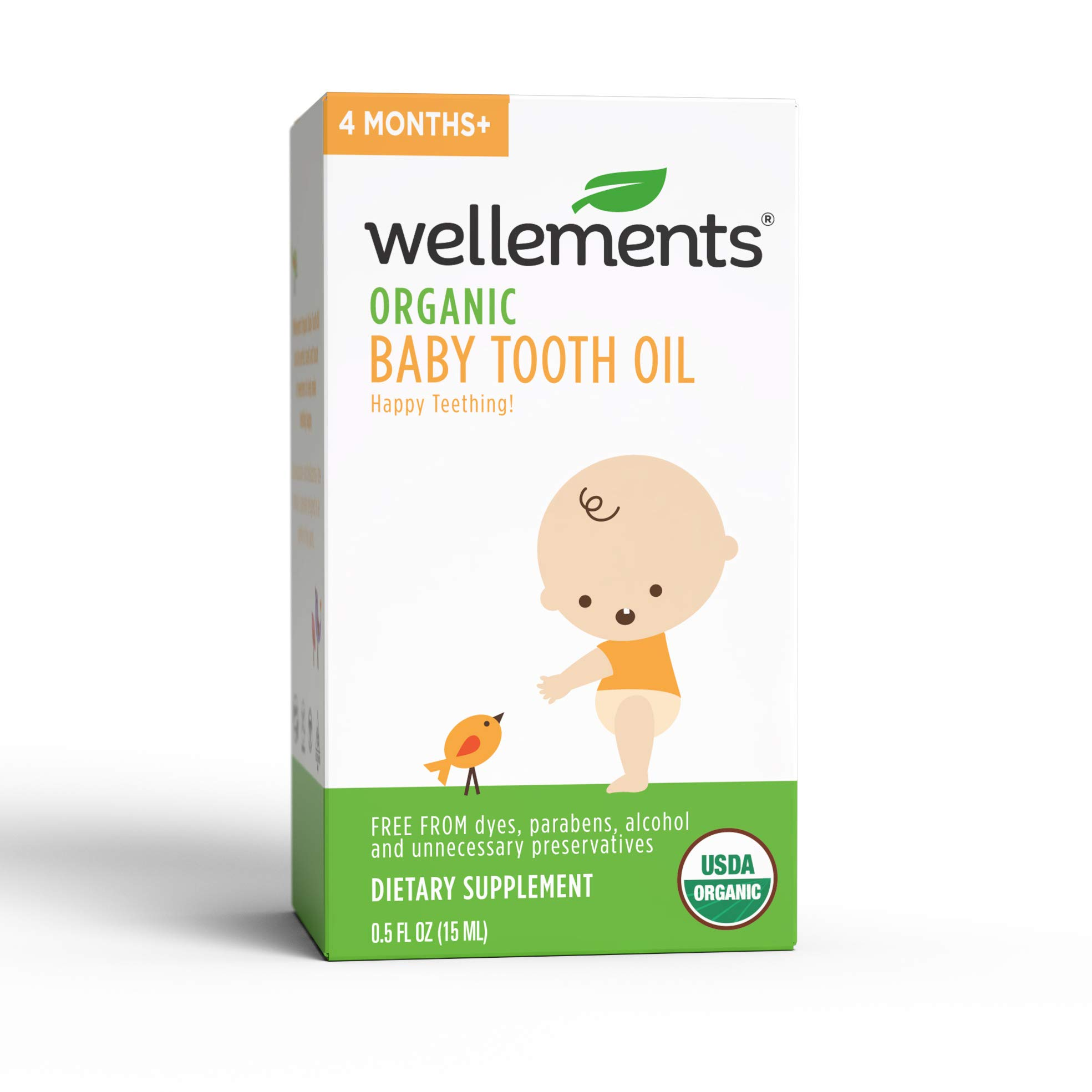 Wellements Organic Baby Tooth Oil for Teething, Free from Dyes, Parabens, Preservatives, 0.5 Fl oz