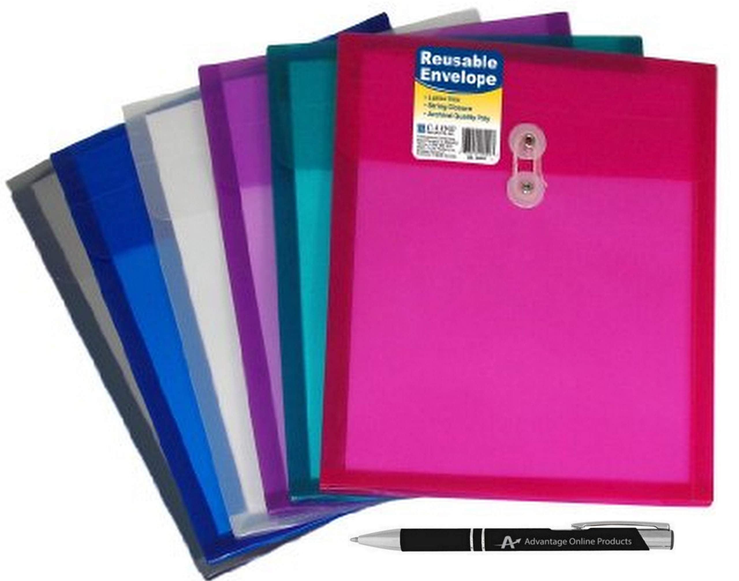 6-Pack C-Line Reusable Poly Envelope with String Closure, 1-In. Gusset, Top Load, Letter Size, Pack of 6 Envelopes, Assorted Colors (58020)