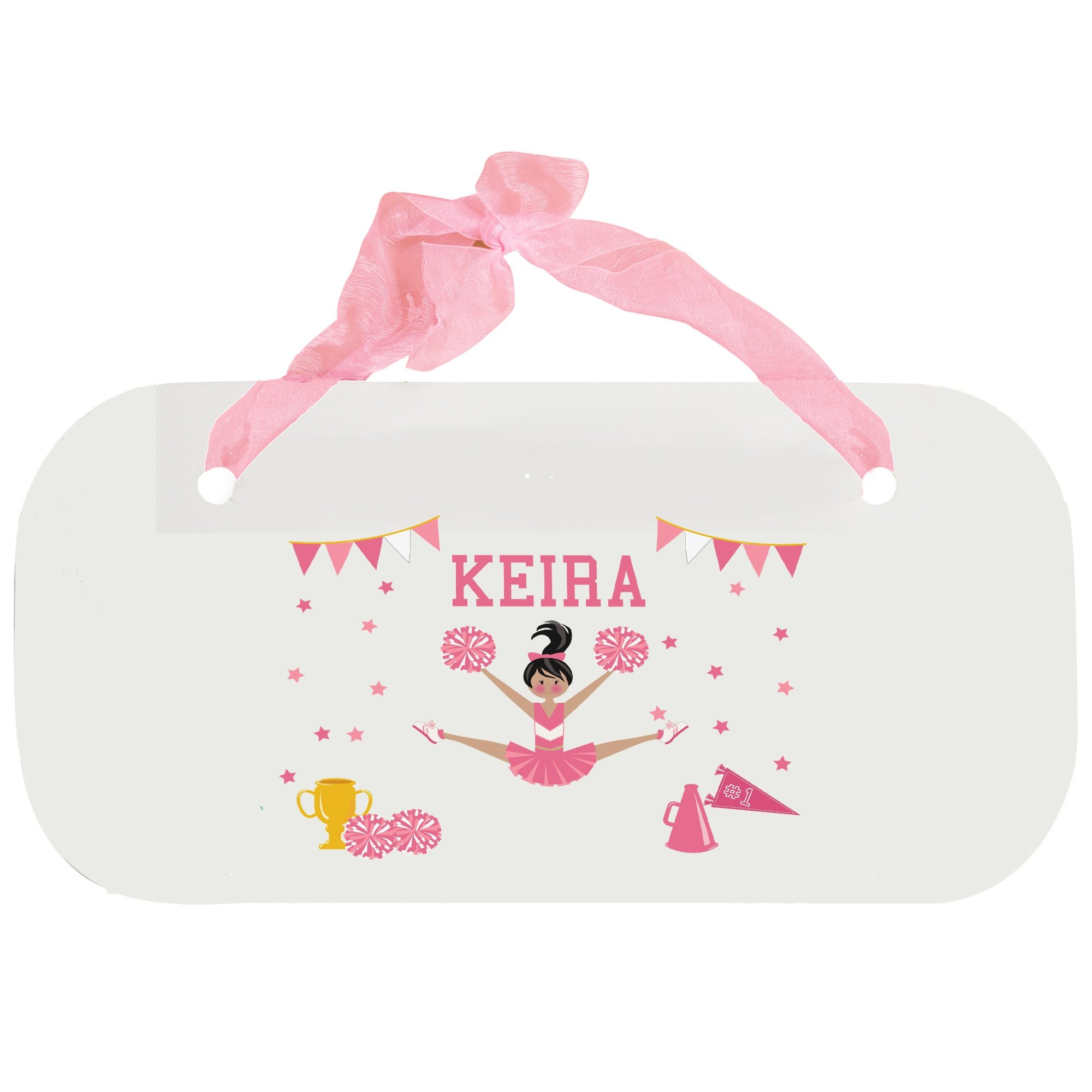 Personalized Cheerleader Black Hair Pink Wooden Door Hanger With Blue Ribbon