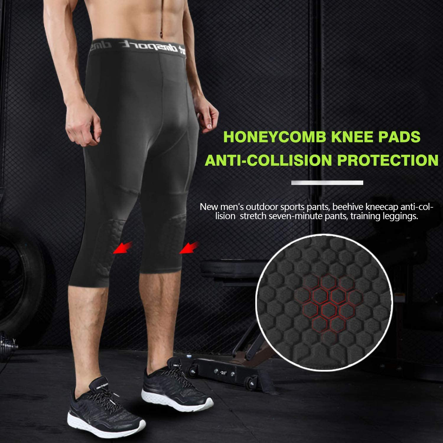 Legendfit Basketball Pants with Knee Pads 3//4 Capri Padded Compression Tights Baselayers Sports Protector Gear for Men Youth Kids Boys